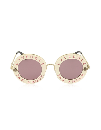 Gucci - GG0113S Acetate and Gold Metal Round Women's Sunglasses
