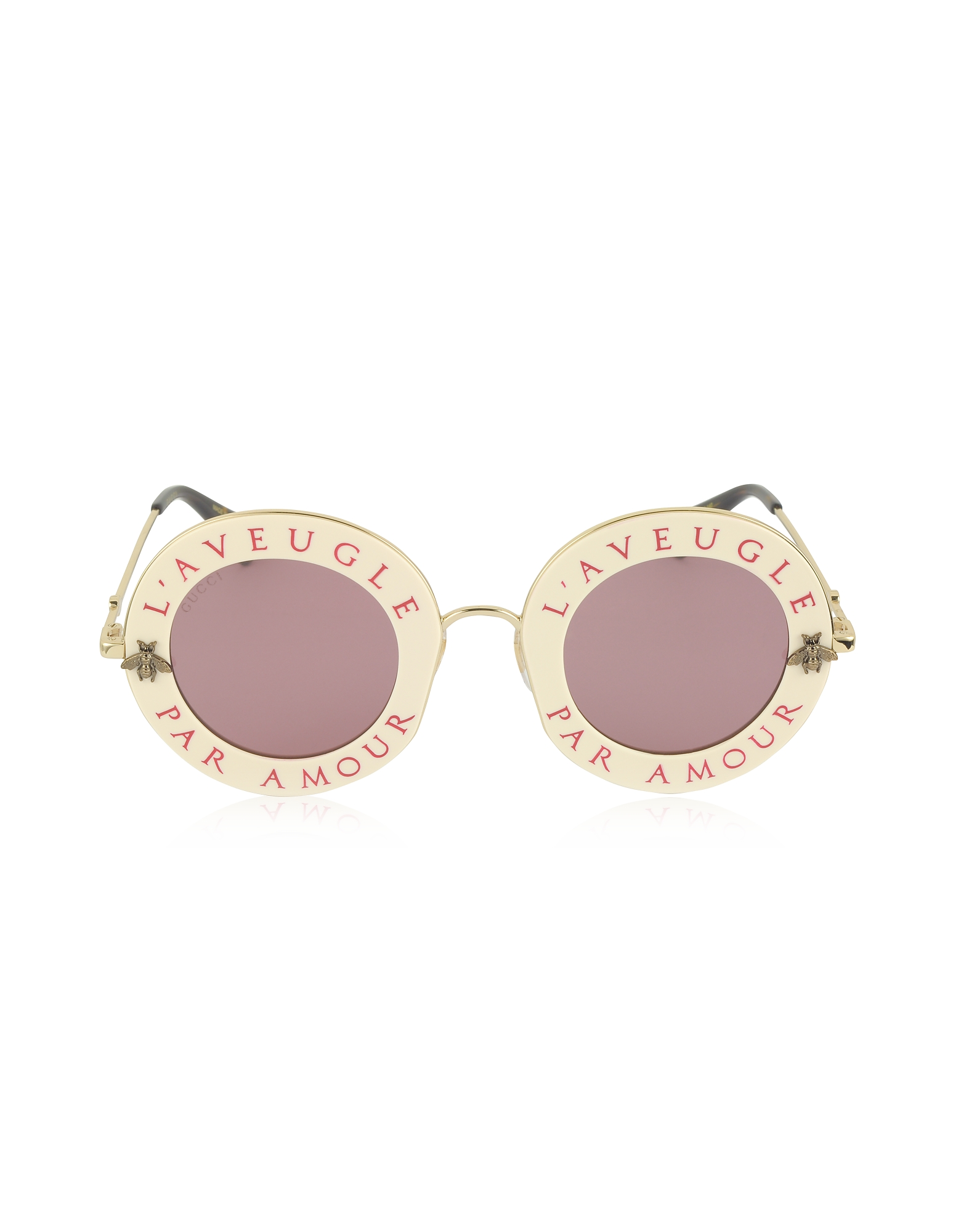Gucci Sunglasses, GG0113S Acetate and Gold Metal Round Women's Sunglasses