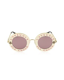 GG0113S Acetate and Gold Metal Round Women's Sunglasses  - Gucci