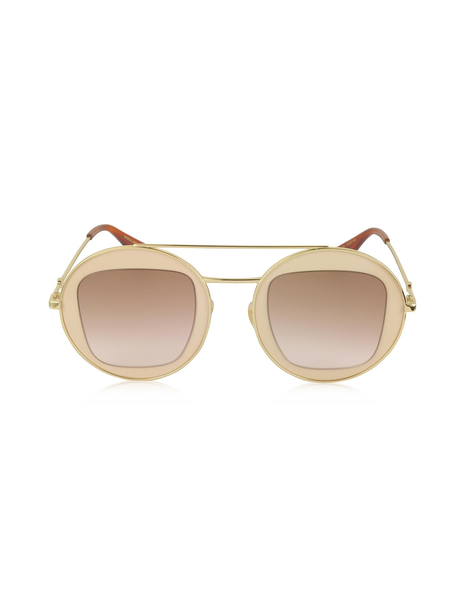 Gucci Sunglasses, GG0105S Metal Round Aviator Women's Sunglasses
