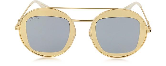 GG0105S Metal Round Aviator Women's Sunglasses - Gucci