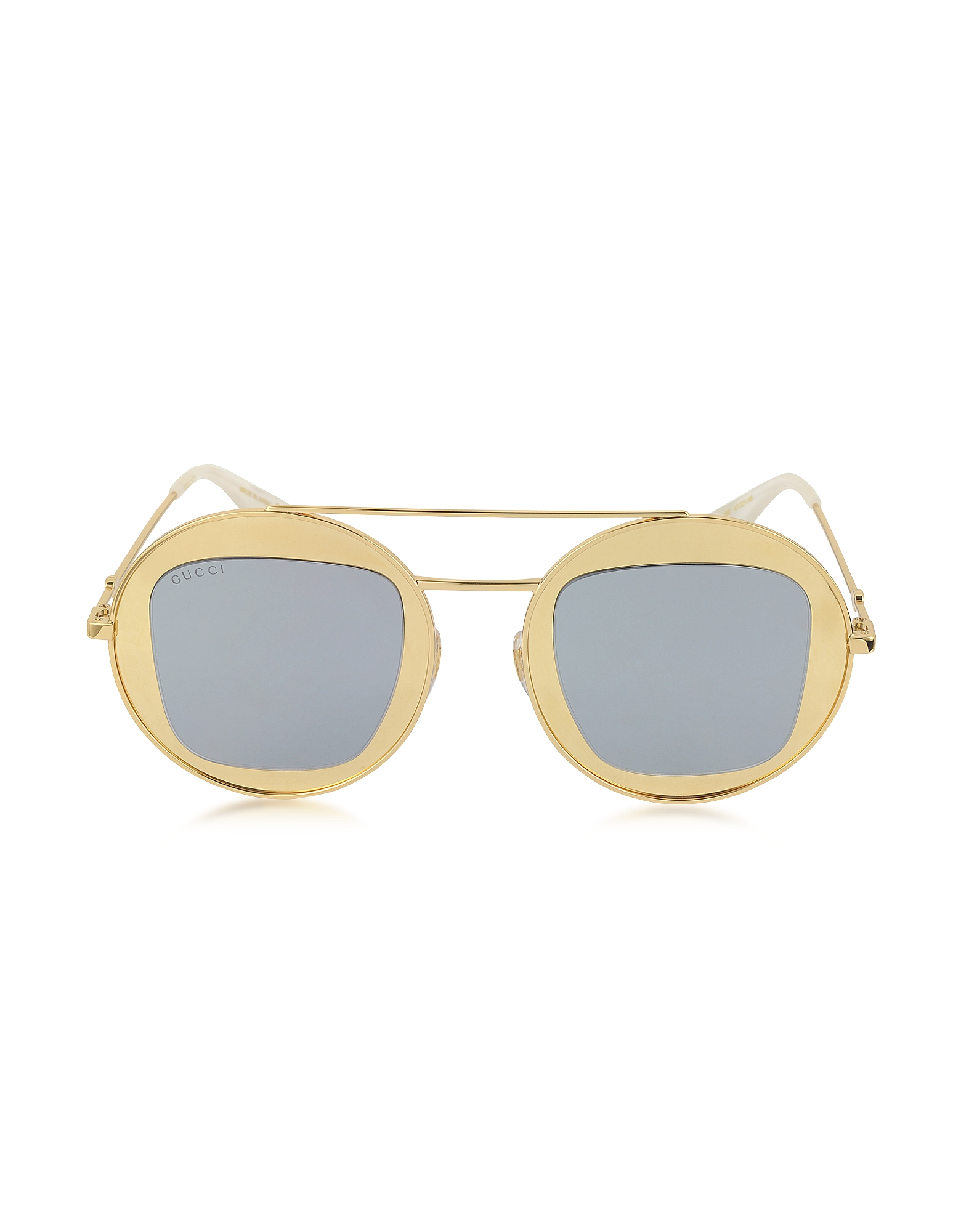 Gucci Designer Sunglasses, GG0105S Metal Round Aviator Women's Sunglasses