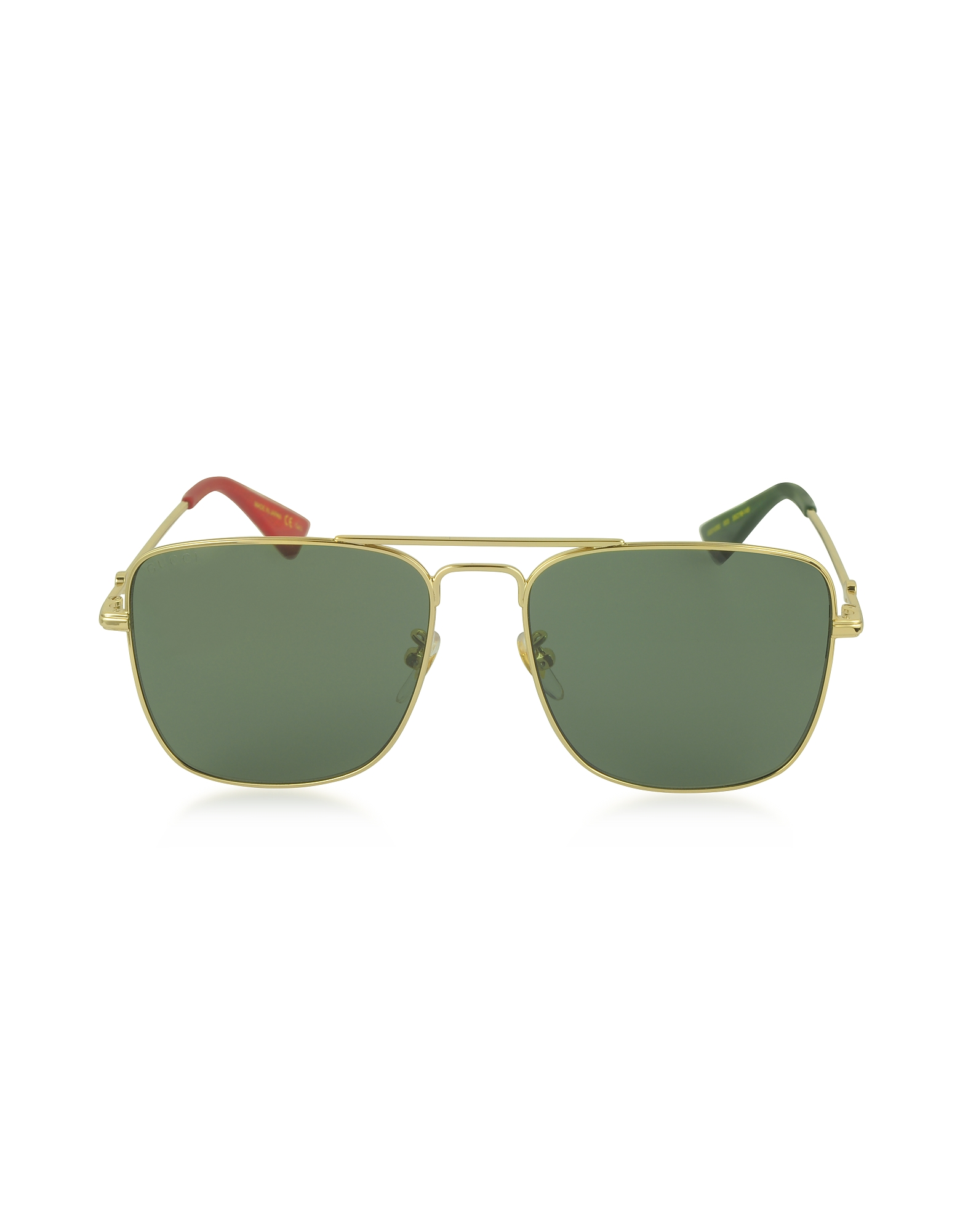 Gucci Sunglasses, GG0108S Gold Metal Square Aviator Men's Sunglasses