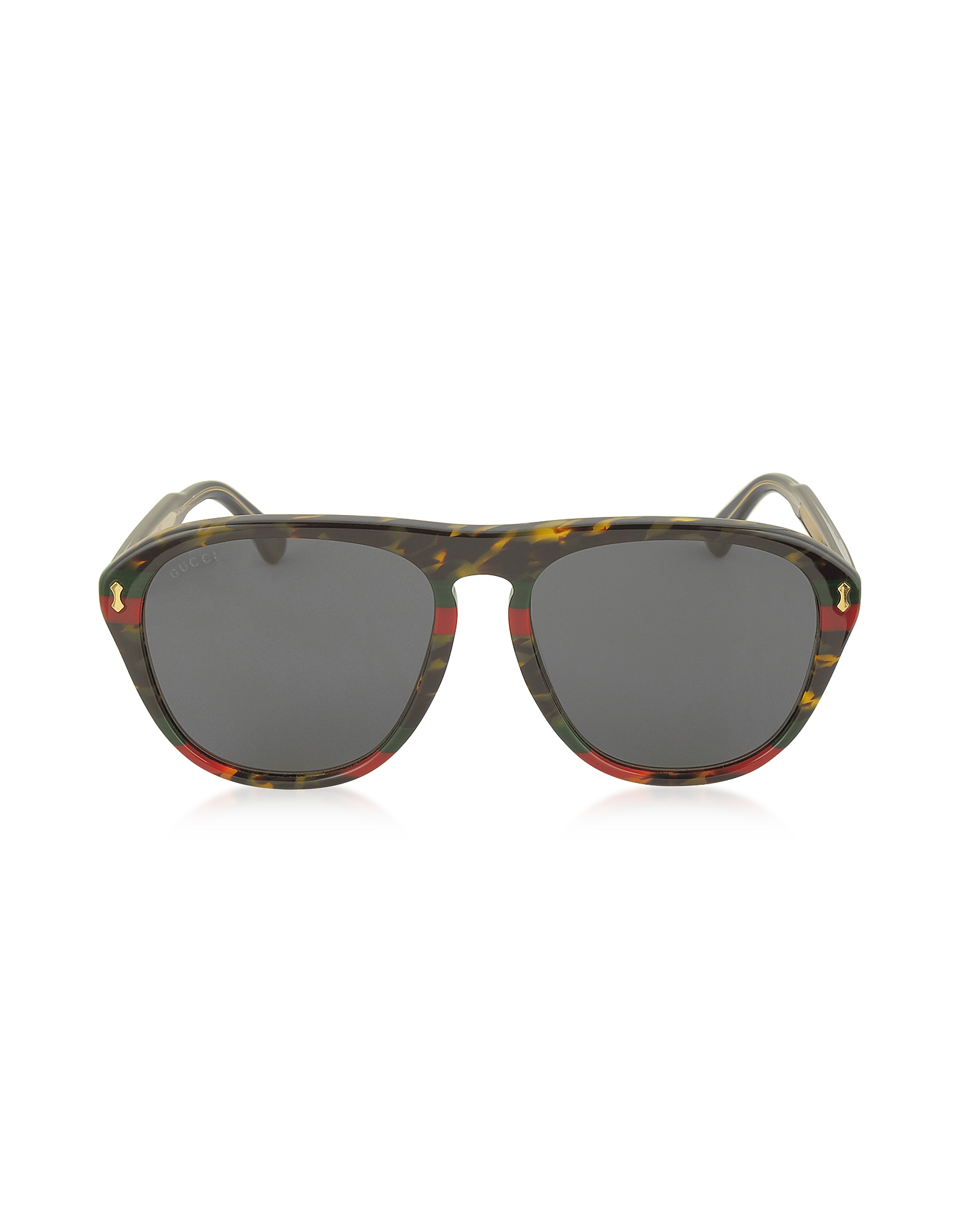 Gucci Designer Sunglasses, GG0128S 003 Havana and Red/Green Acetate Aviator Men's Sunglasses