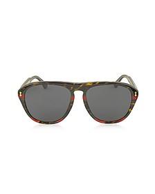 GG0128S 003 Havana and Red/Green Acetate Aviator Men's Sunglasses - Gucci