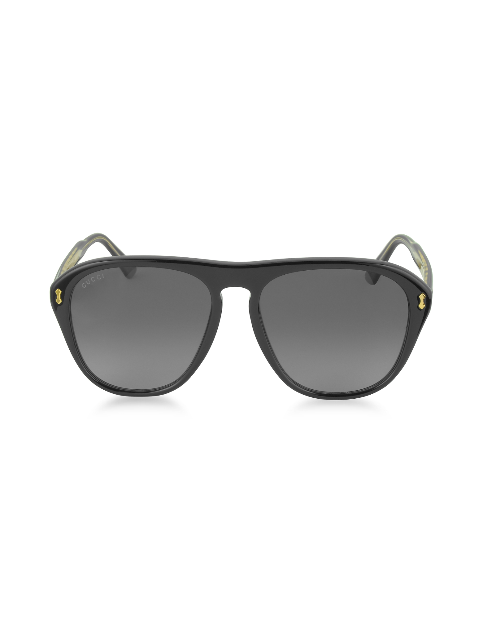 Gucci Designer Sunglasses, GG0128S 007 Black Acetate Aviator Men's Sunglasses