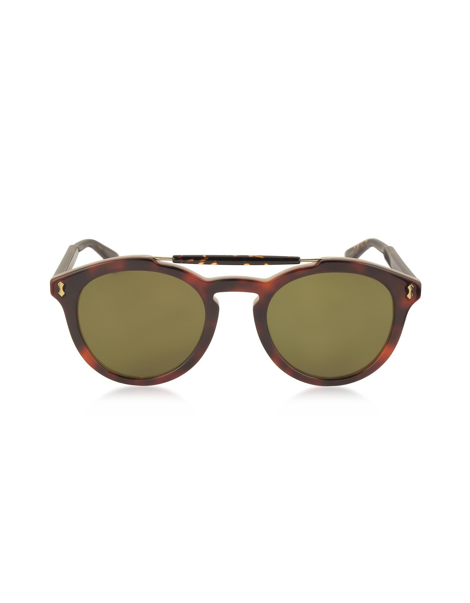 Gucci Designer Sunglasses, GG0124S Acetate Round Aviator Men's Sunglasses