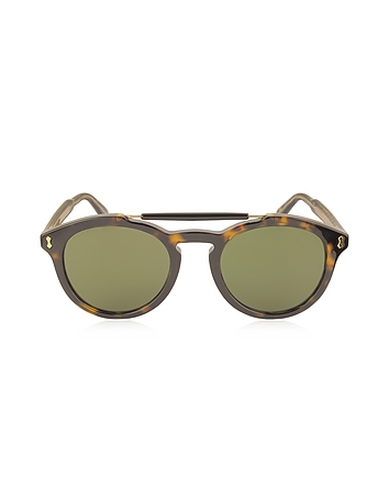 Gucci - GG0124S Acetate Round Aviator Men's Sunglasses