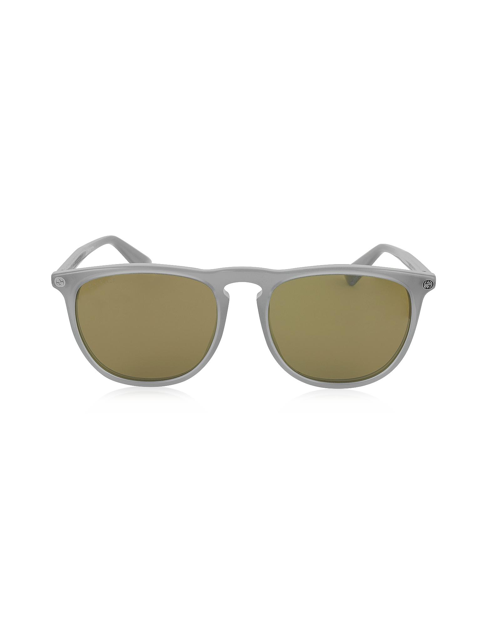 Gucci Sunglasses, GG0120S 005 Gray Acetate Rounded Square Men's Sunglasses