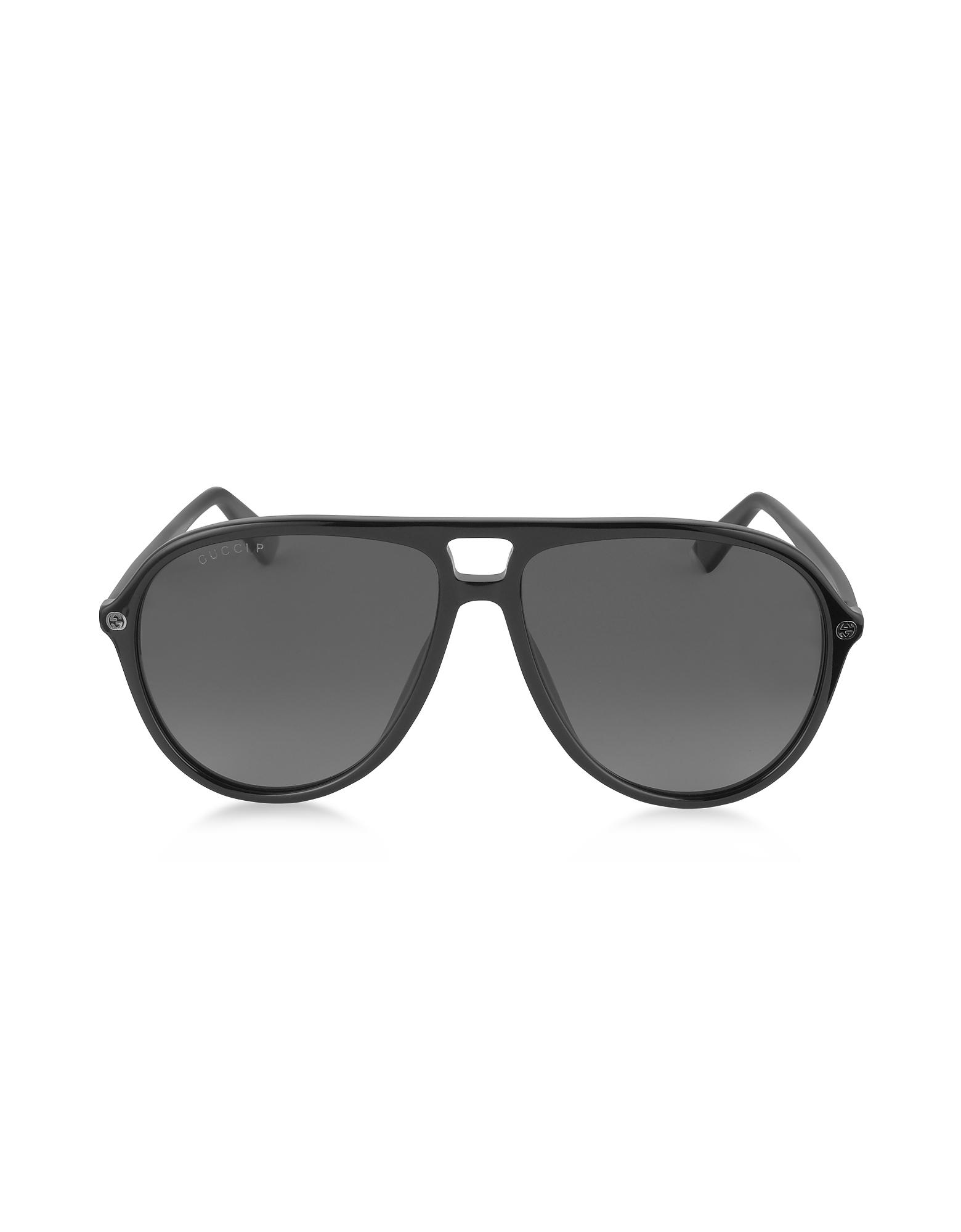 Gucci Sunglasses, GG0119S 006 Black Acetate Aviator Men's Polarized Sunglasses