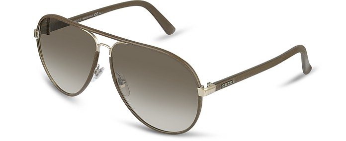 Men's Logo Leather Aviator Sunglasses - Gucci