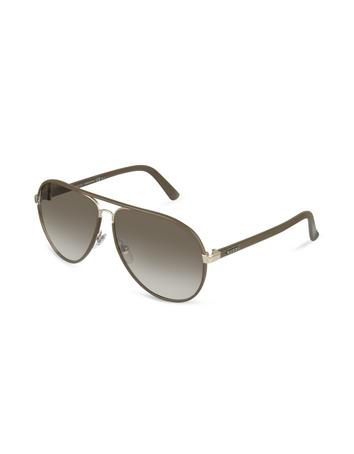 Gucci Men's Logo Leather Aviator Sunglasses
