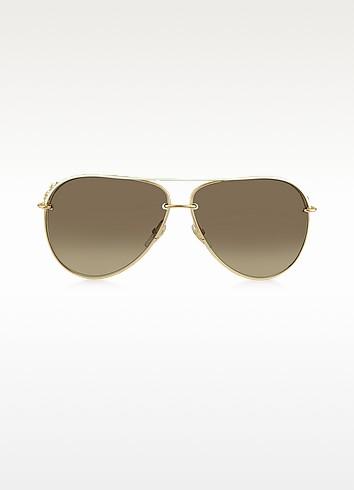 GG 4230/S 6DFJD Metal Aviator Women's Sunglasses - Gucci