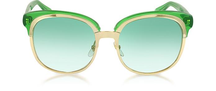GG 4241/S EZA7L Green and Gold Women's Sunglasses - Gucci