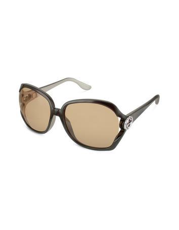 Gucci Oversize GG Logo Temple Round Sunglasses