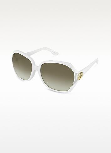 Oversize GG Logo Temple Round Sunglasses - Gucci