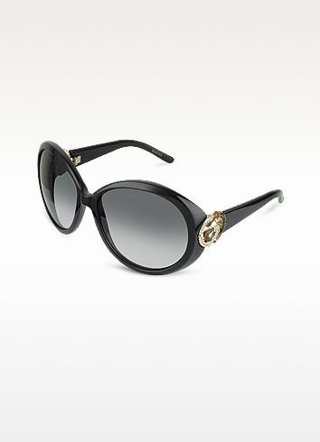 Crystal & Bamboo GG Logo Round Sunglasses - Gucci