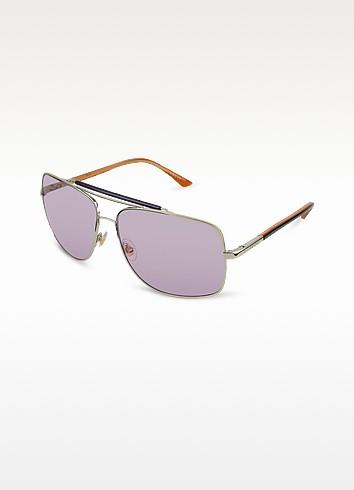 Signature Temple Metal Teacup Sunglasses - Gucci