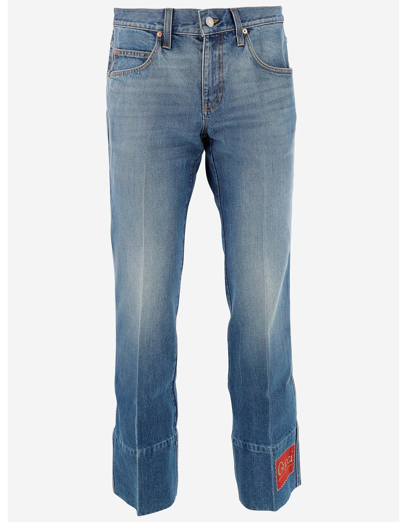 Gucci Designer Jeans, Washed Effect Cotton Denim Men's Flared jeans