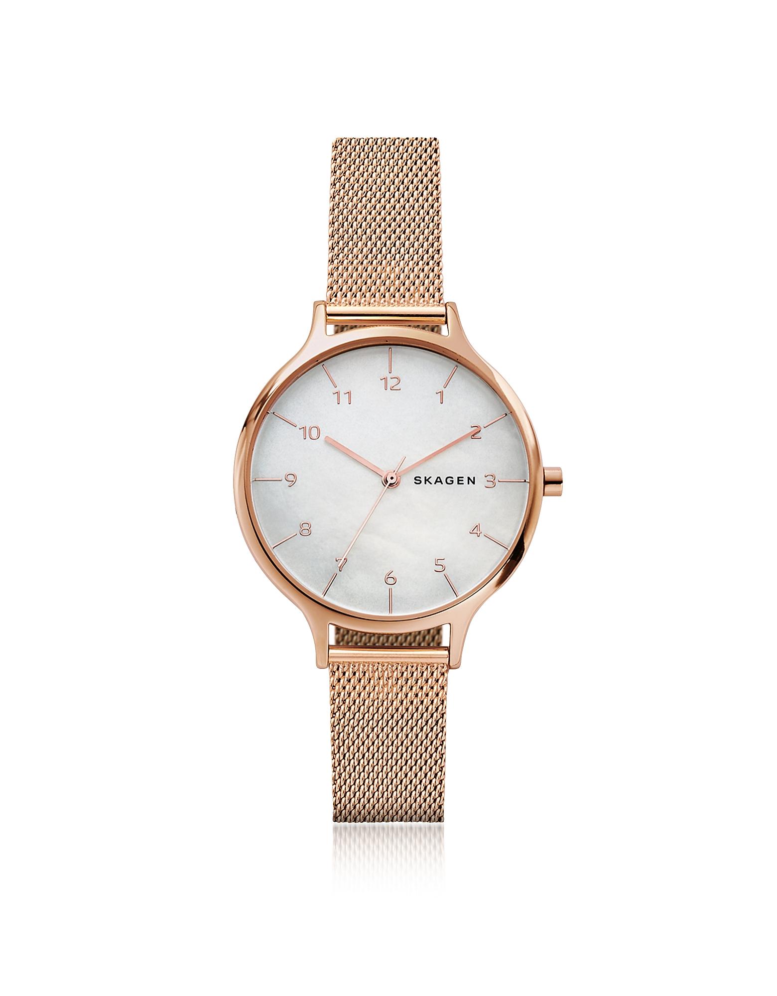 Skagen Women's Watches, Anita Mother of Pearl Rose-Tone Steel-Mesh Watch