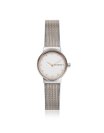 Skagen Freja Rose Gold and Silver Tone Steel Mesh Women's Watch