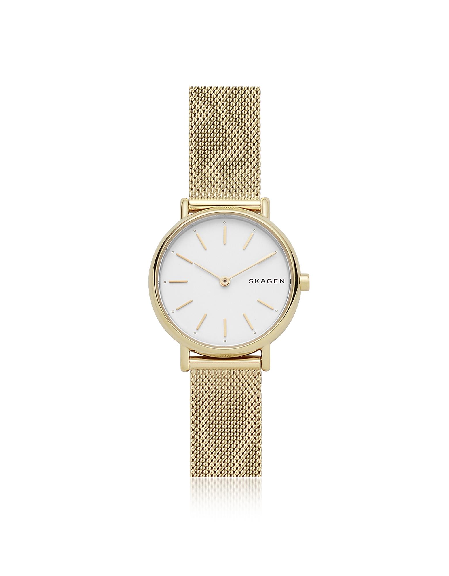 Часы Signatur Slim из Золотистой Стали с Сетчатым Браслетом SKAGEN