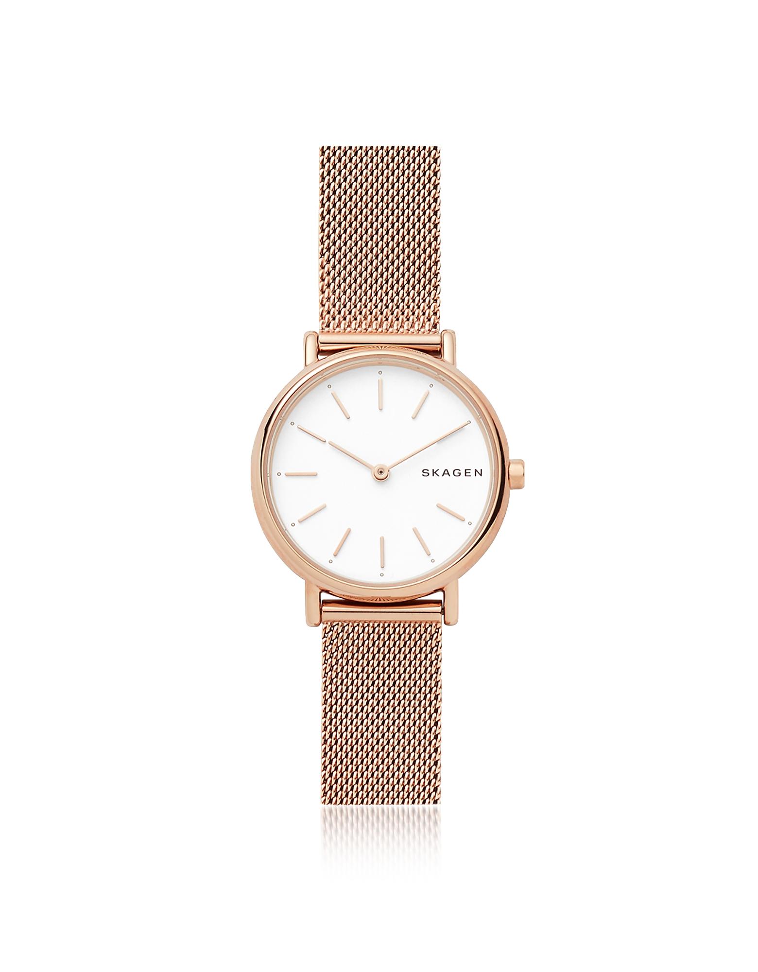 Skagen Women's Watches, Signatur Slim Rose Gold-Tone Steel-Mesh Watch
