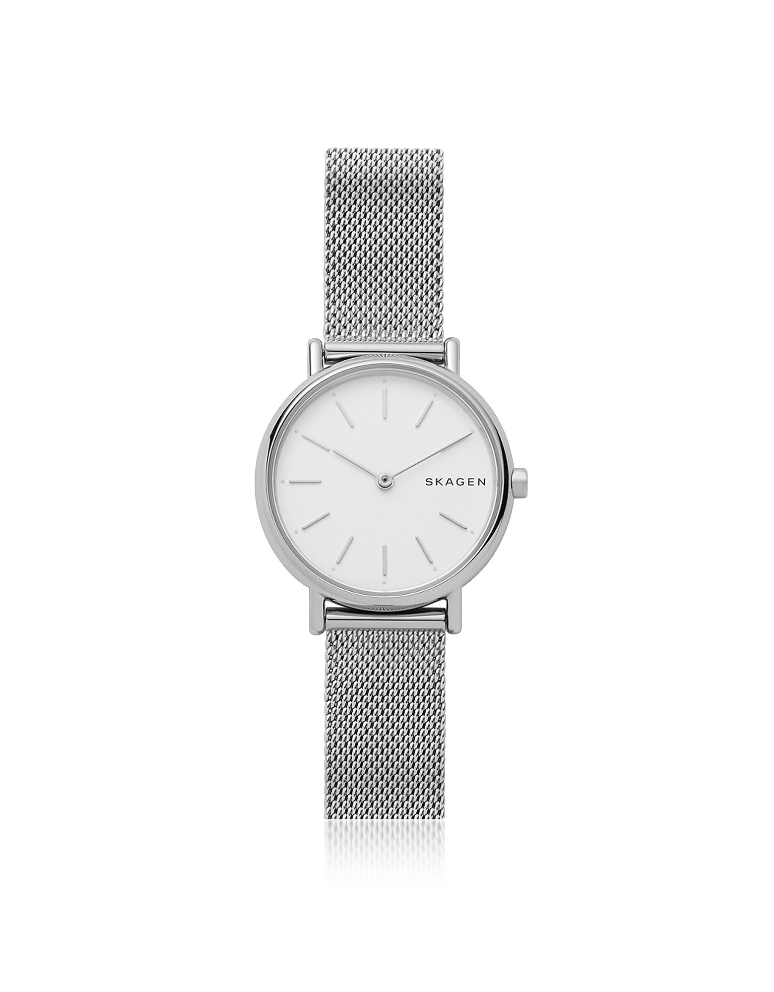 Skagen Designer Women's Watches, Signatur Slim Silver-Tone Steel-Mesh Women's Watch