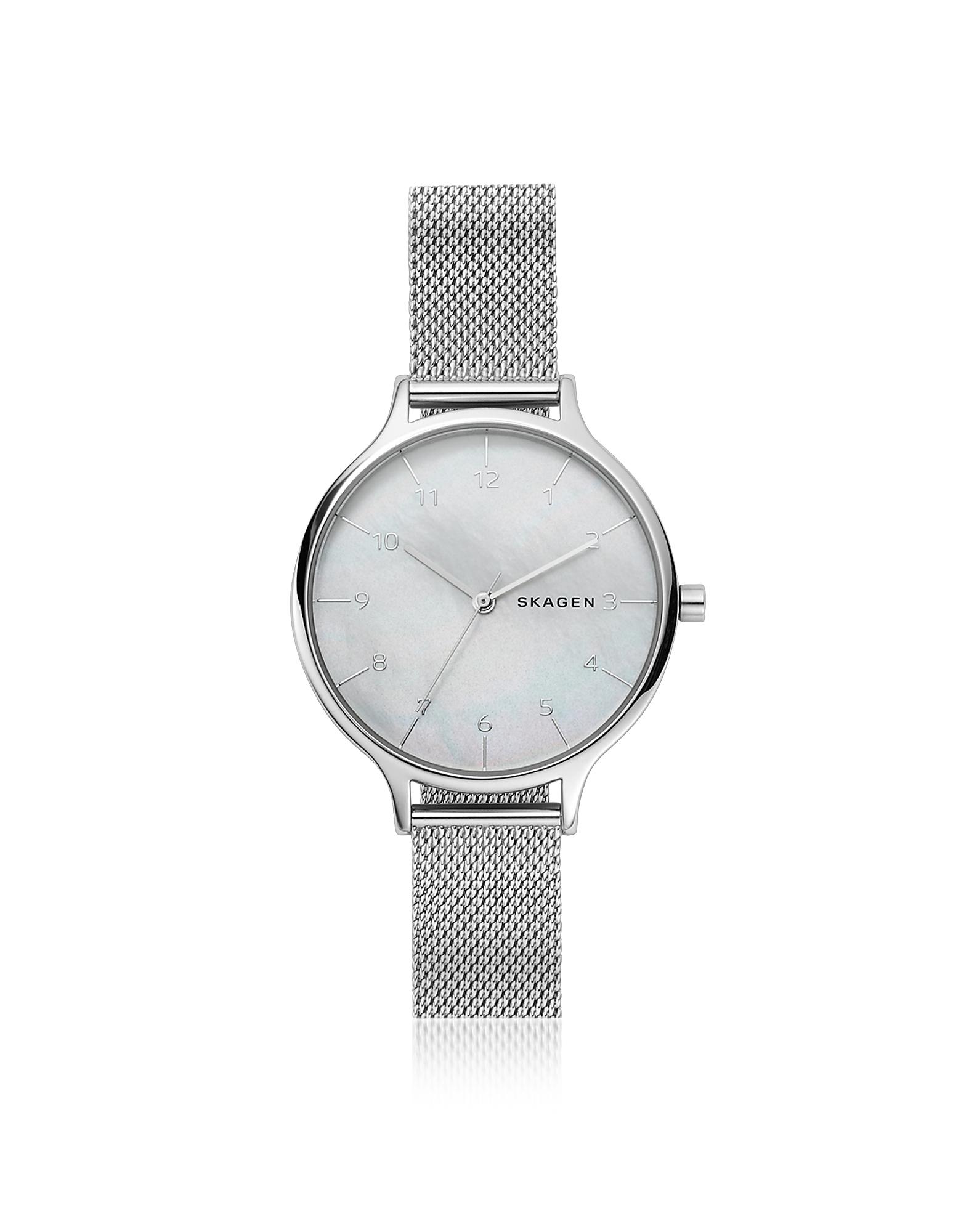 Skagen Women's Watches, Anita Steel-Mesh Mother of Pearl Women's Watch