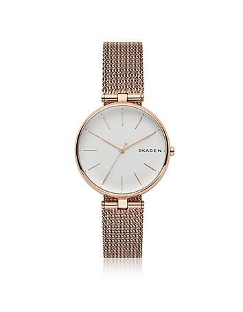 Signatur T-Bar Rose-Tone Steel-Mesh Women's Watch