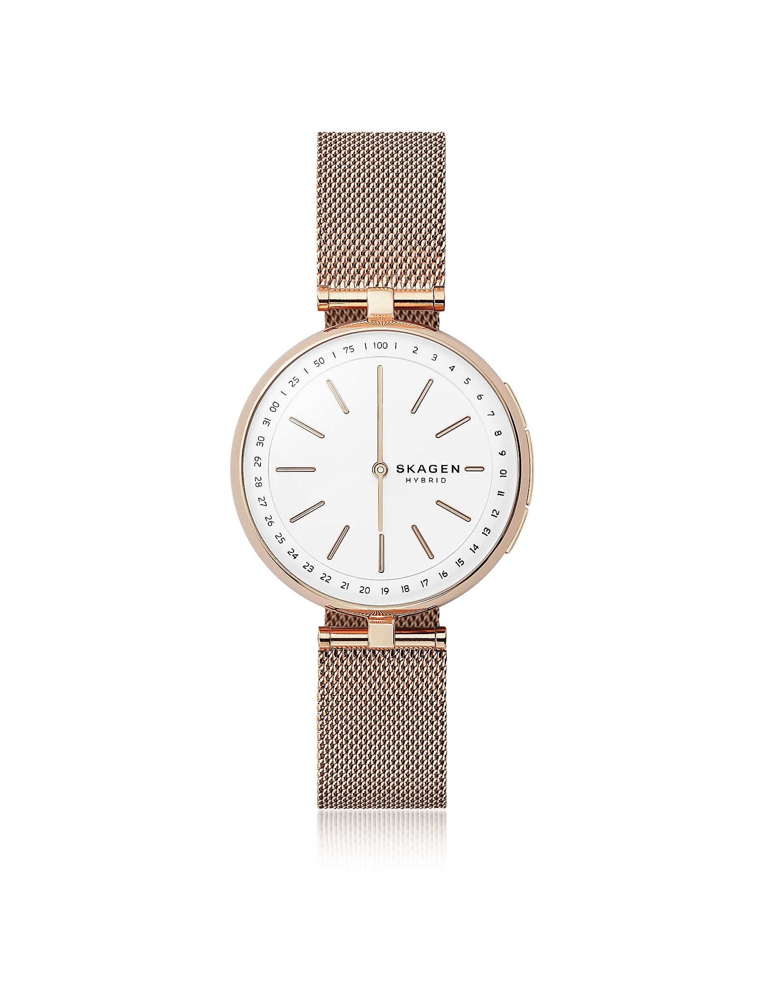 Signatur T-Bar Rose Gold-Tone Steel-Mesh Hybrid Smartwatch