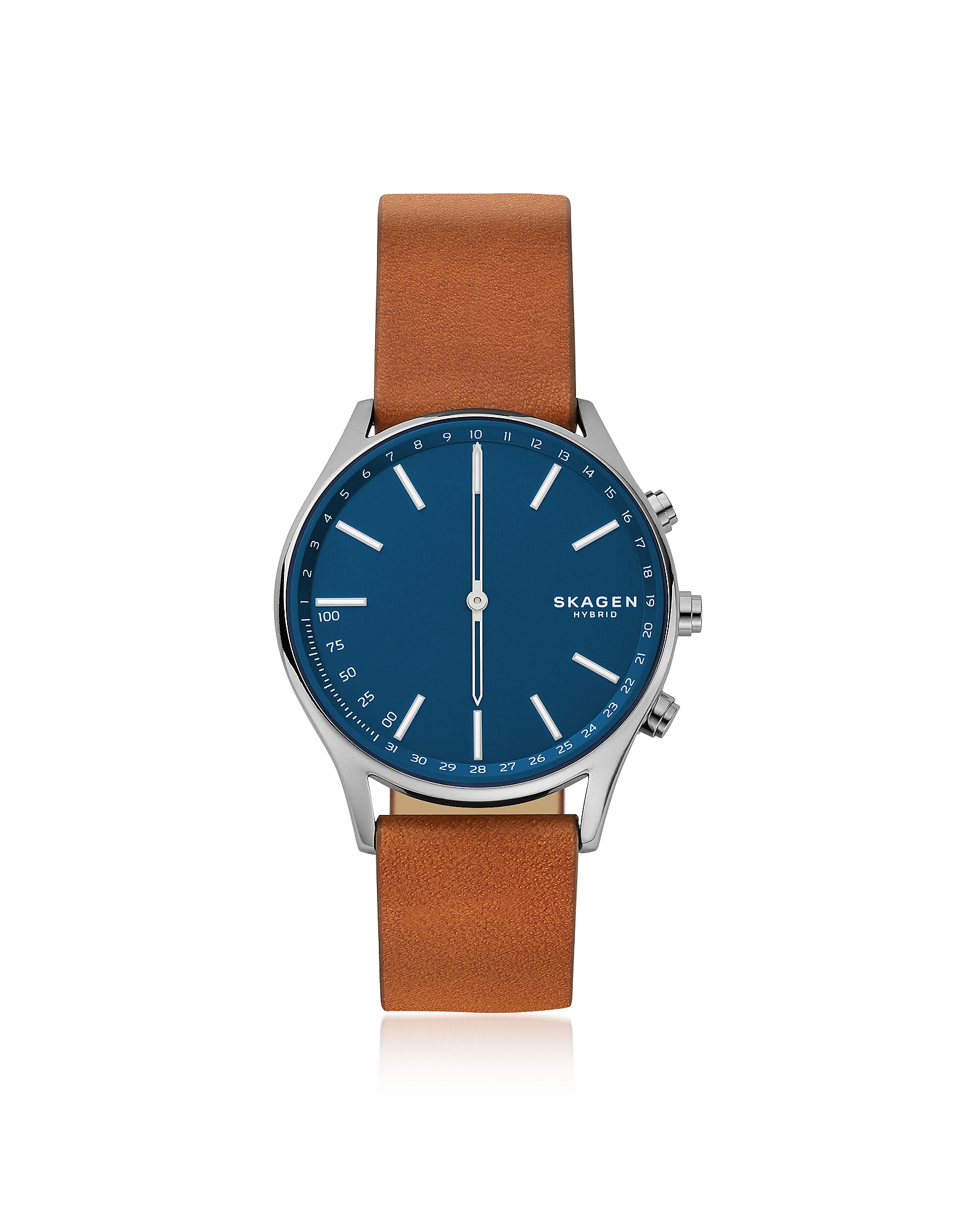 Holst Titanium and Brown Leather Hybrid Smartwatch