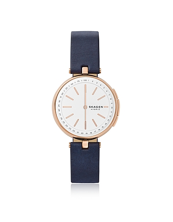 Signatur T-Bar Blue Leather Hybrid Smartwatch