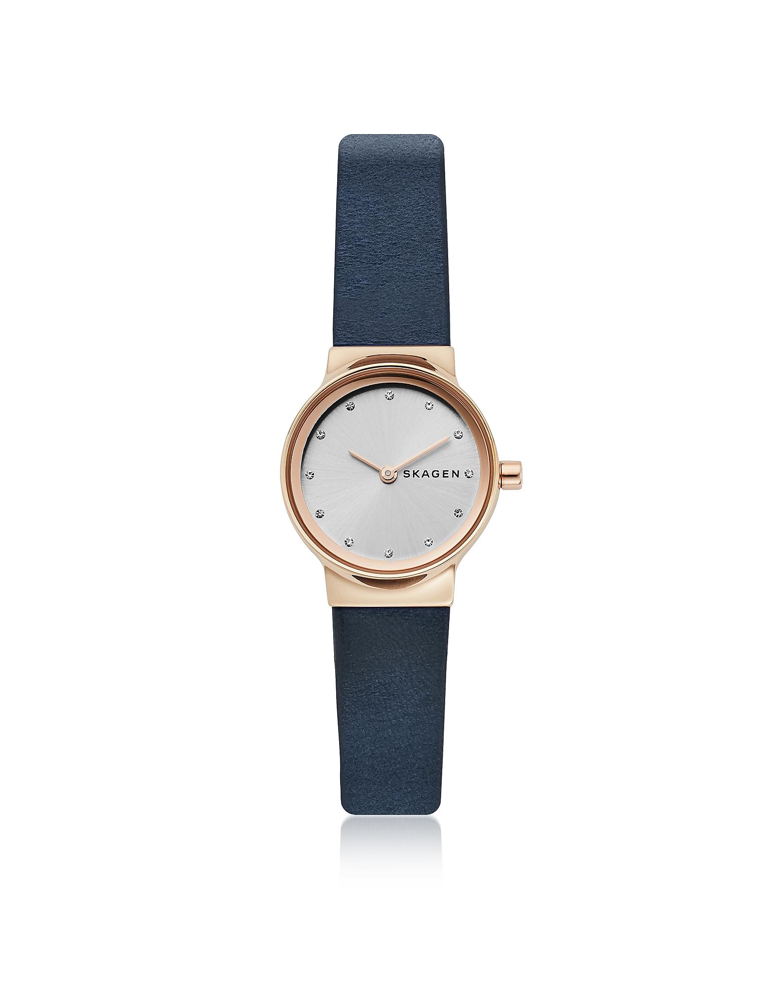 Freja Mini - Часы на Темно-синем Коричневом Ремешке SKAGEN