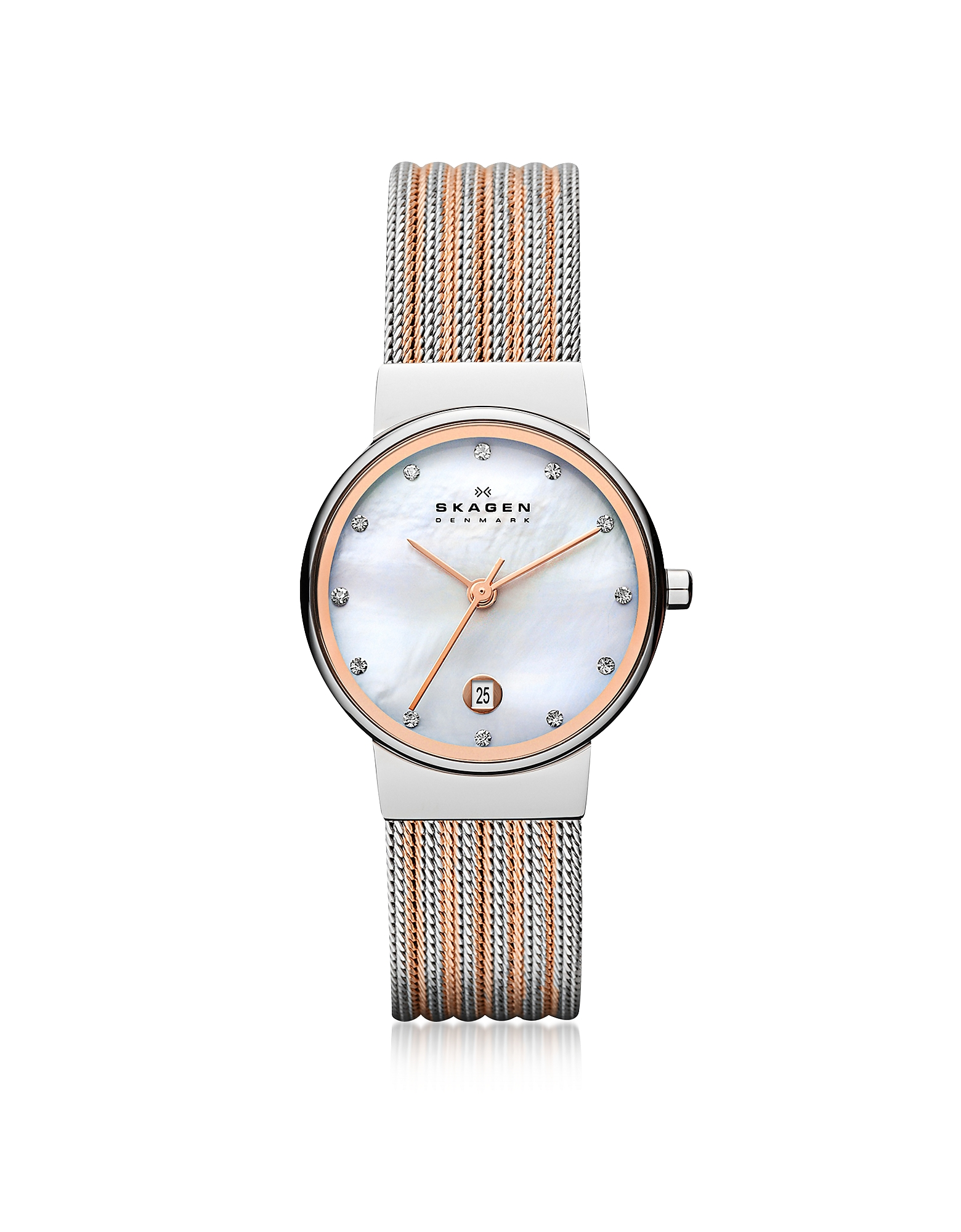Skagen Women's Watches, Ancher Two Tone Striped Stainless Steel Mesh Women's Watch
