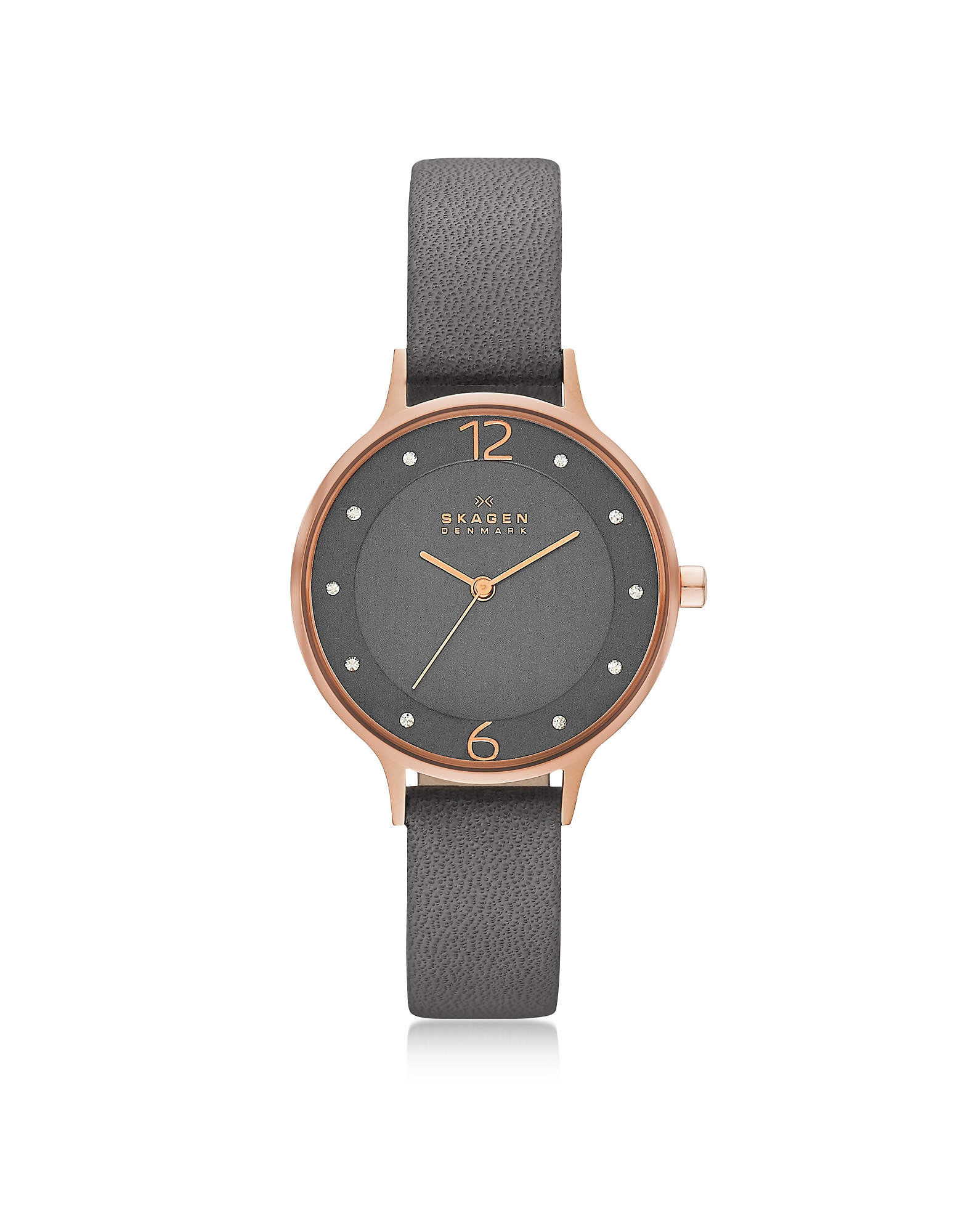 Skagen Women's Watches, Anita Rose Goldtone Stainless Steel Women's Watch w/Gray Leather Band