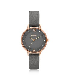 Anita Rose Goldtone Stainless Steel Women's Watch w/Gray Leather Band - Skagen