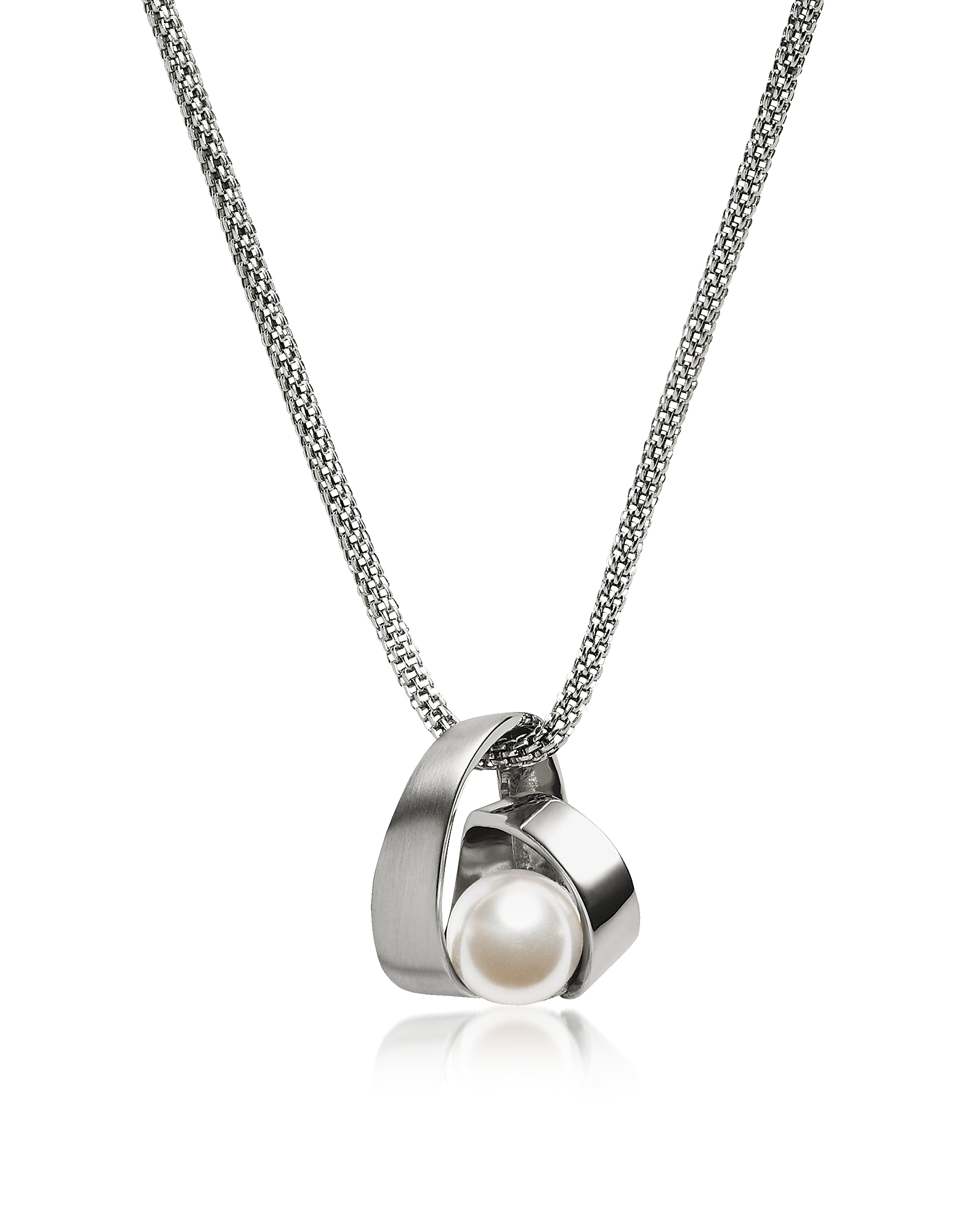 Skagen Necklaces, Agnethe Pearl Silver Tone Pendant Necklace