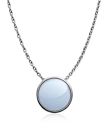 Sea glass Silver Tone Pendant Necklace