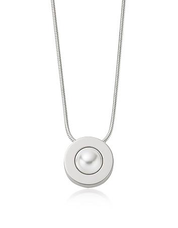 Agnethe Pearl Silver.Tone Pendant Necklace