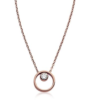 Elin Rose Gold-Tone Crystal Circle Necklace