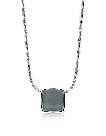 Sea Glass Square Silver Tone Necklace