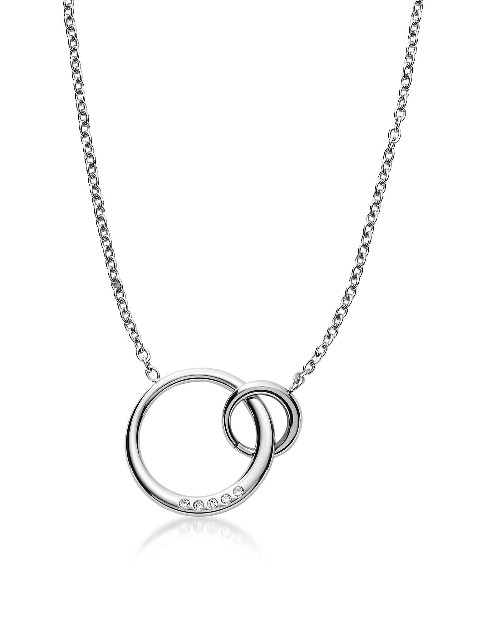 Elin Silver Tone Crystal Pendant Necklace