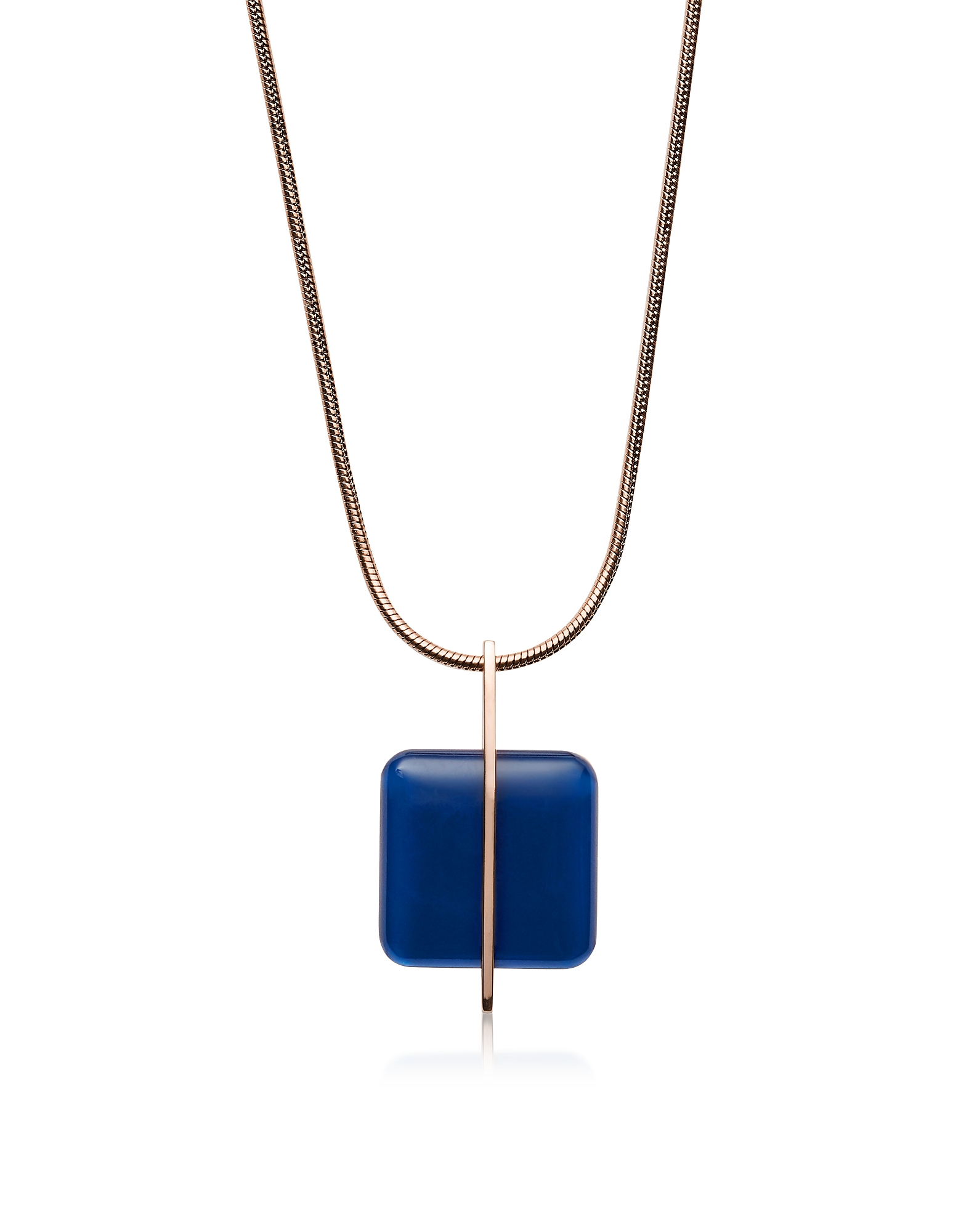 Blue Sea Glass Rose-Gold-Tone Necklace