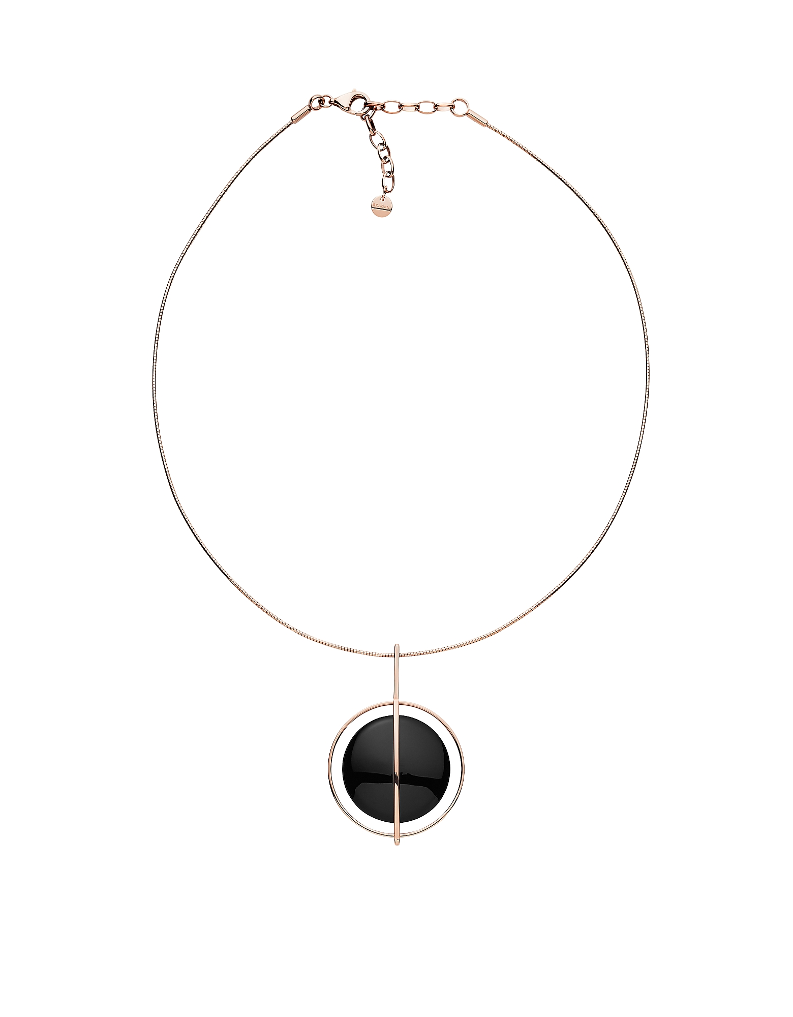 Ellen Rose Tone Onyx Necklace