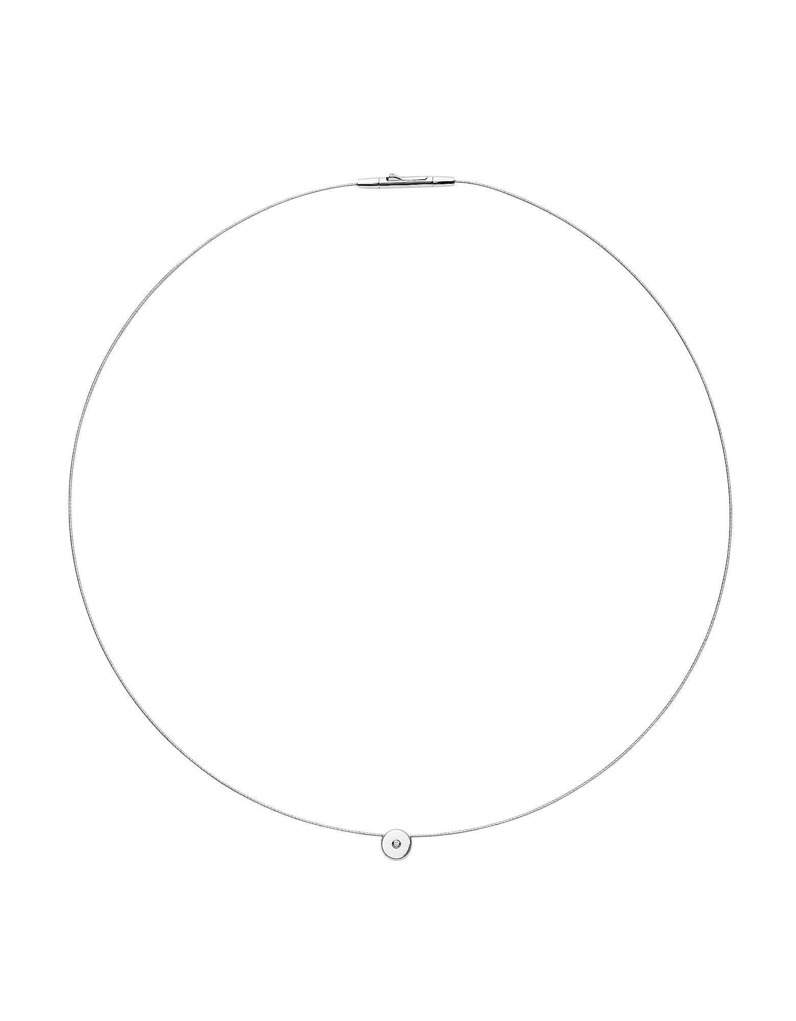 Helena Silver Tone Genuine Diamond and Wire Necklace