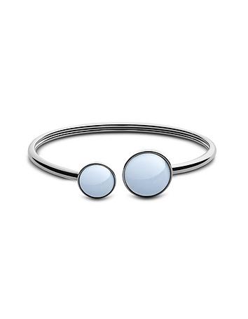 White Sea Glass Silver Tone Women's Bracelet