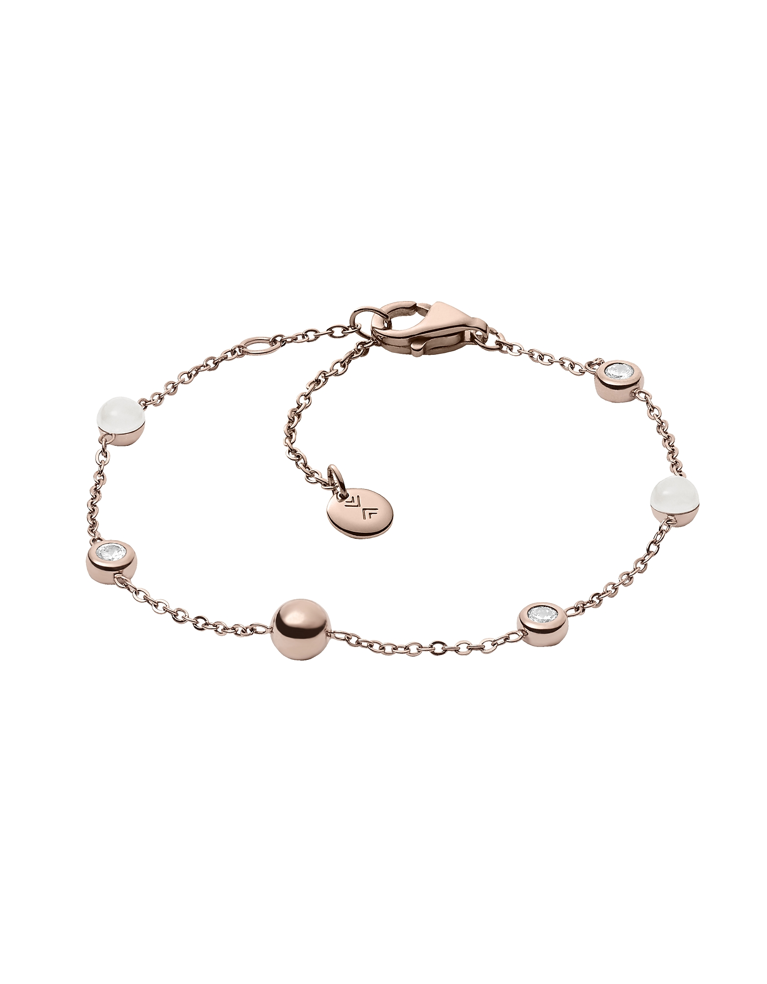 Sea Glass Rose Tone Station Bracelet