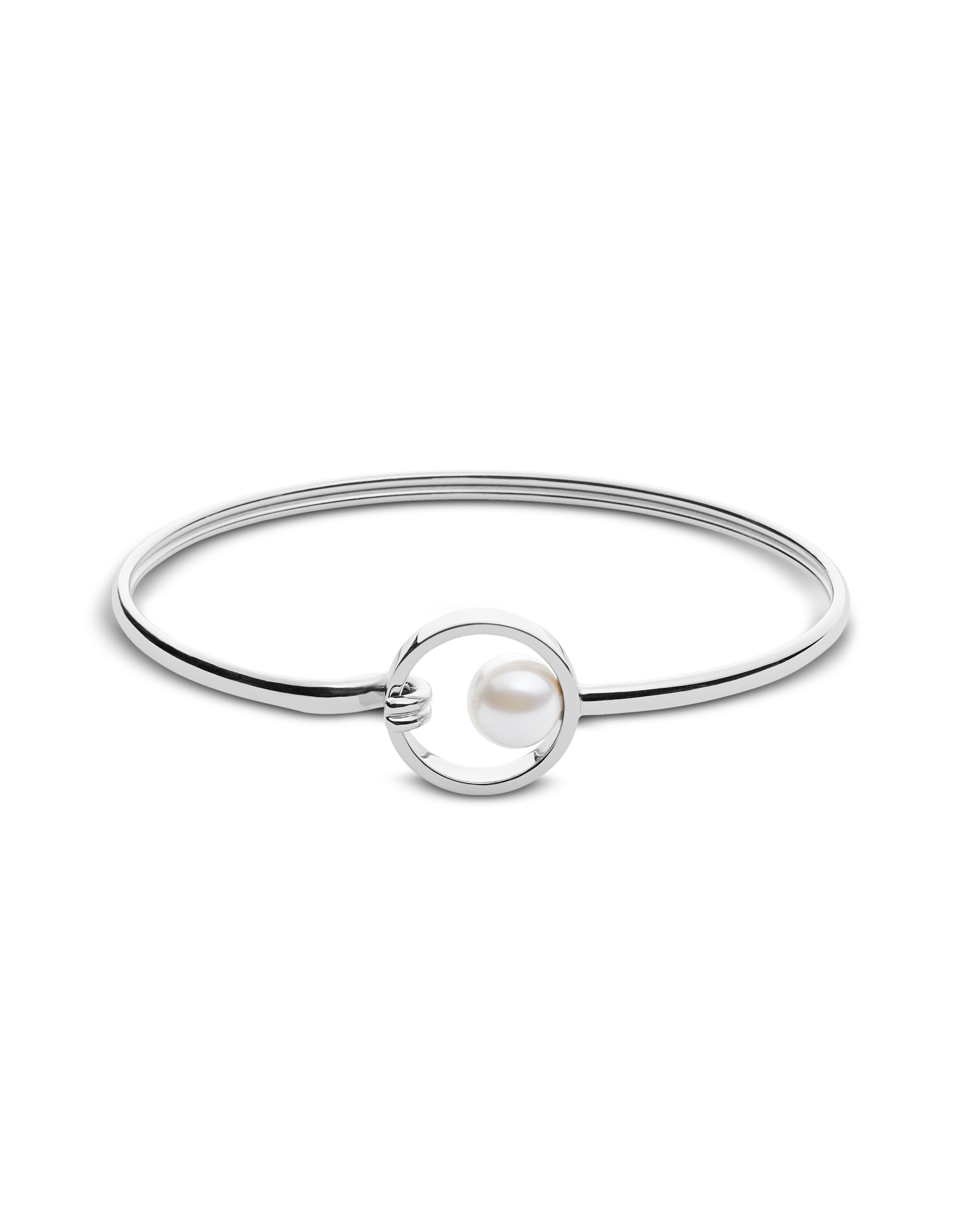Image of Agnethe Silver Tone and Pearl Clasp Bangle