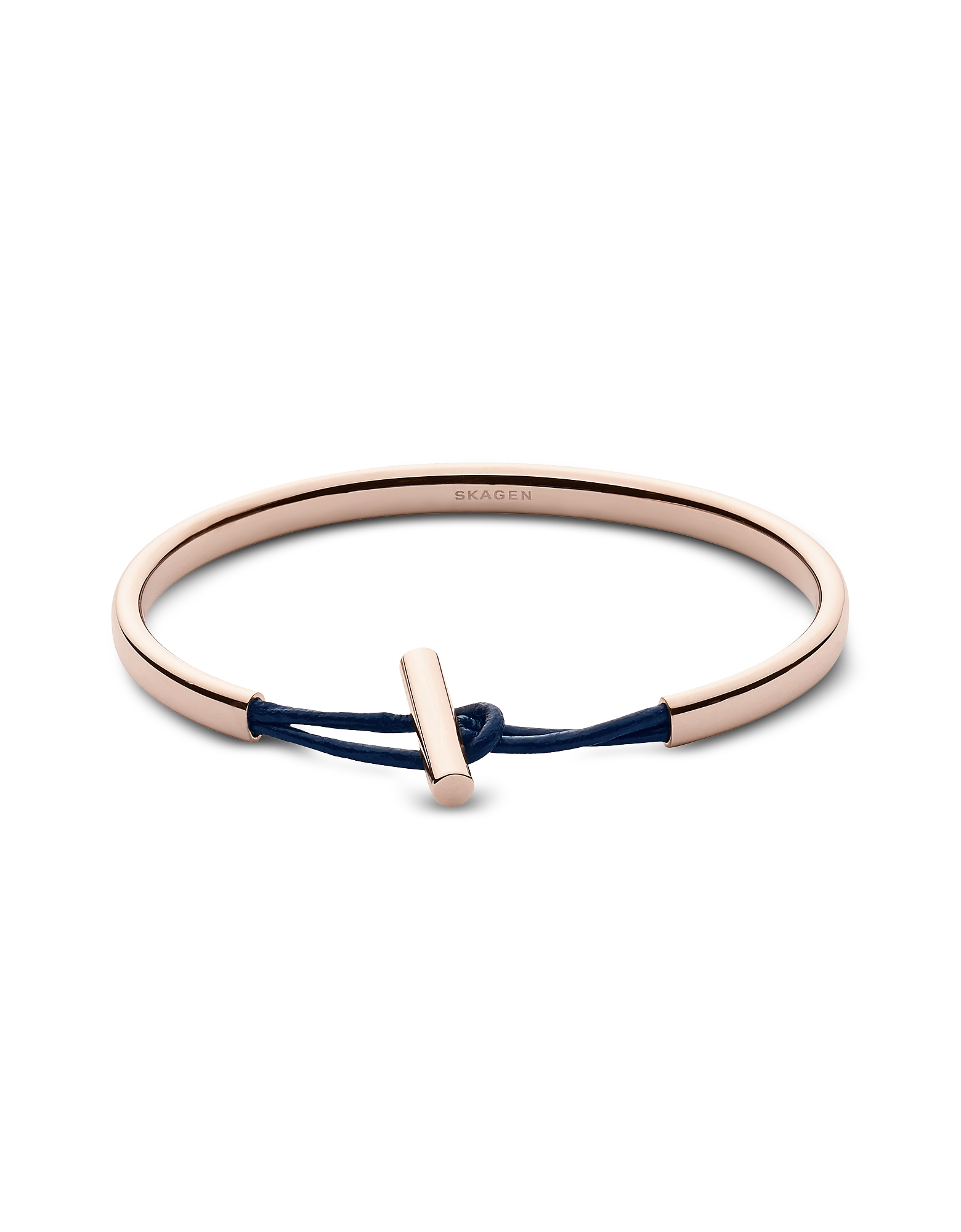 Skagen Bracelets, Anette Rose Tone Steel and Leather Bangle Bracelet